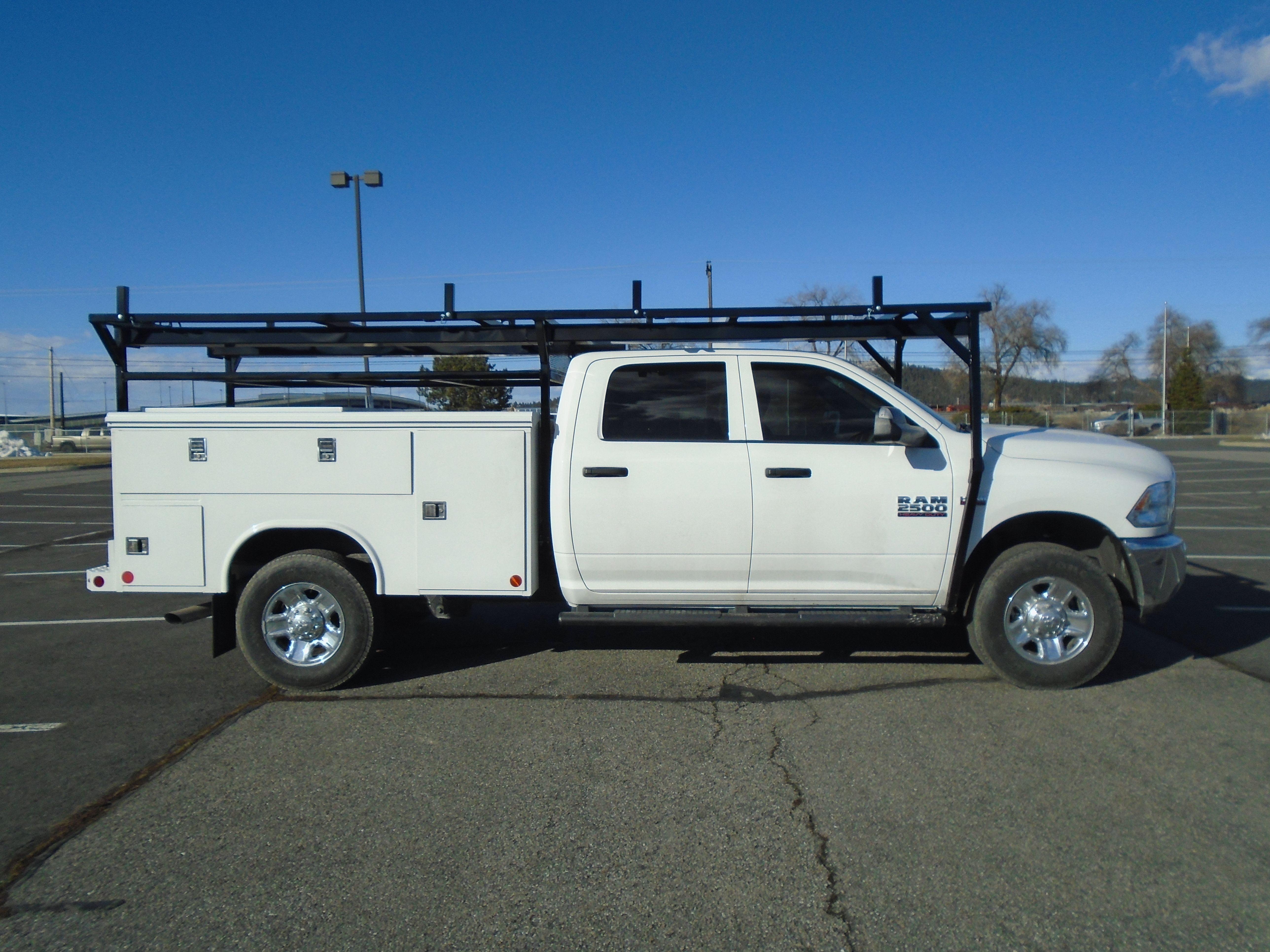 We Added A Custom Rack To This Awesome Reading Truck Group Service Body We Love To Do Custom Builds Have An I Work Truck Custom Truck Beds Utility Truck Beds