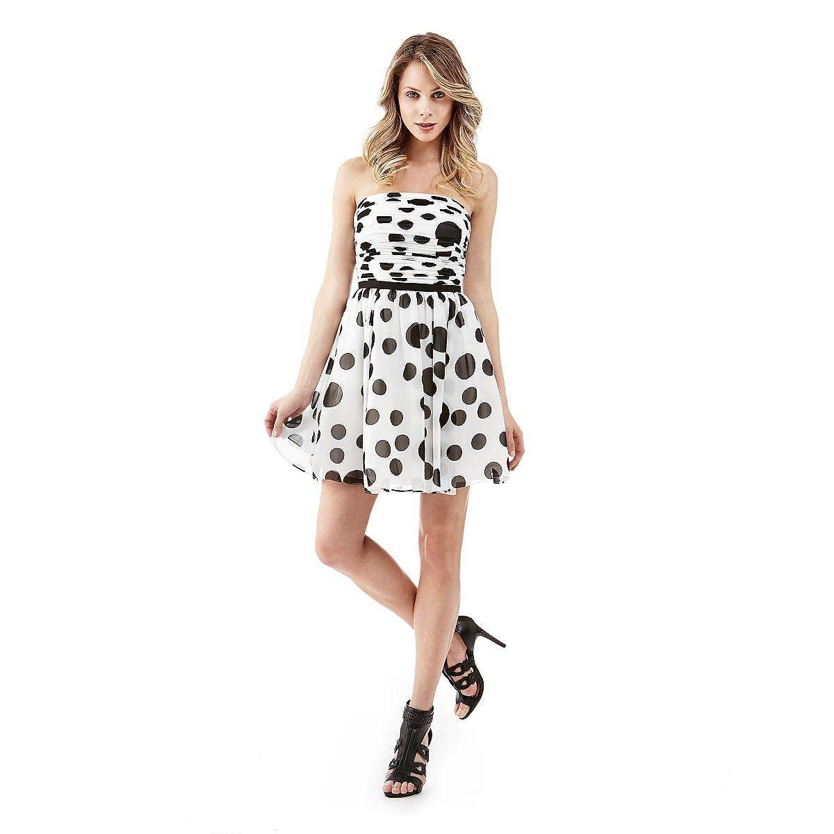 Kleid Strapless Polka Dots    Dieses Kleid mit herzförmigem Ausschnitt macht die Cocktail Hour zum stylishen Event. Die Pünktchen des Prints verleihen dem verführerischen Style Bon-Ton-Flair.    Kontrastierendes Taillenband.  60% Baumwolle 40% Modal.  Handwäsche.  Länge Größe S ca. 94 cm....