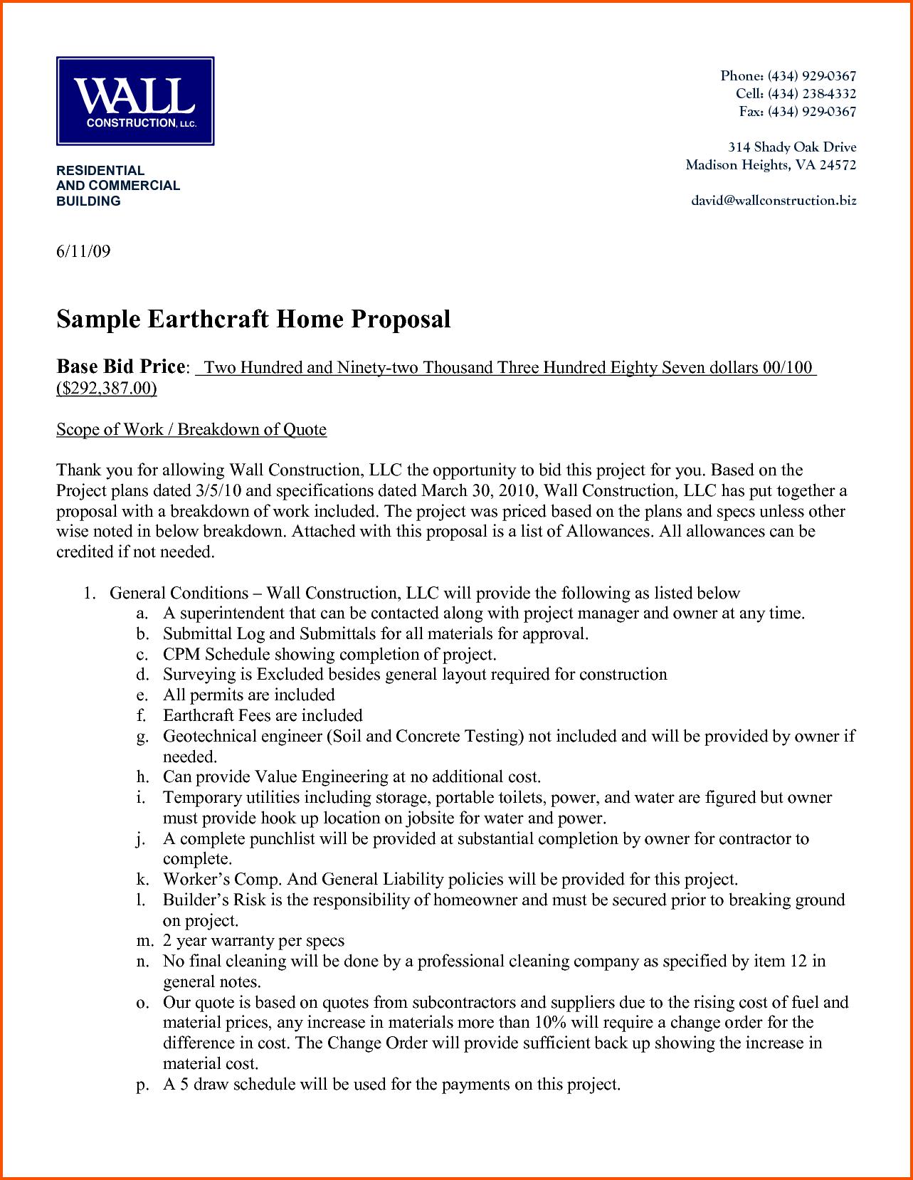 Construction Bid Proposal Business proposal examples