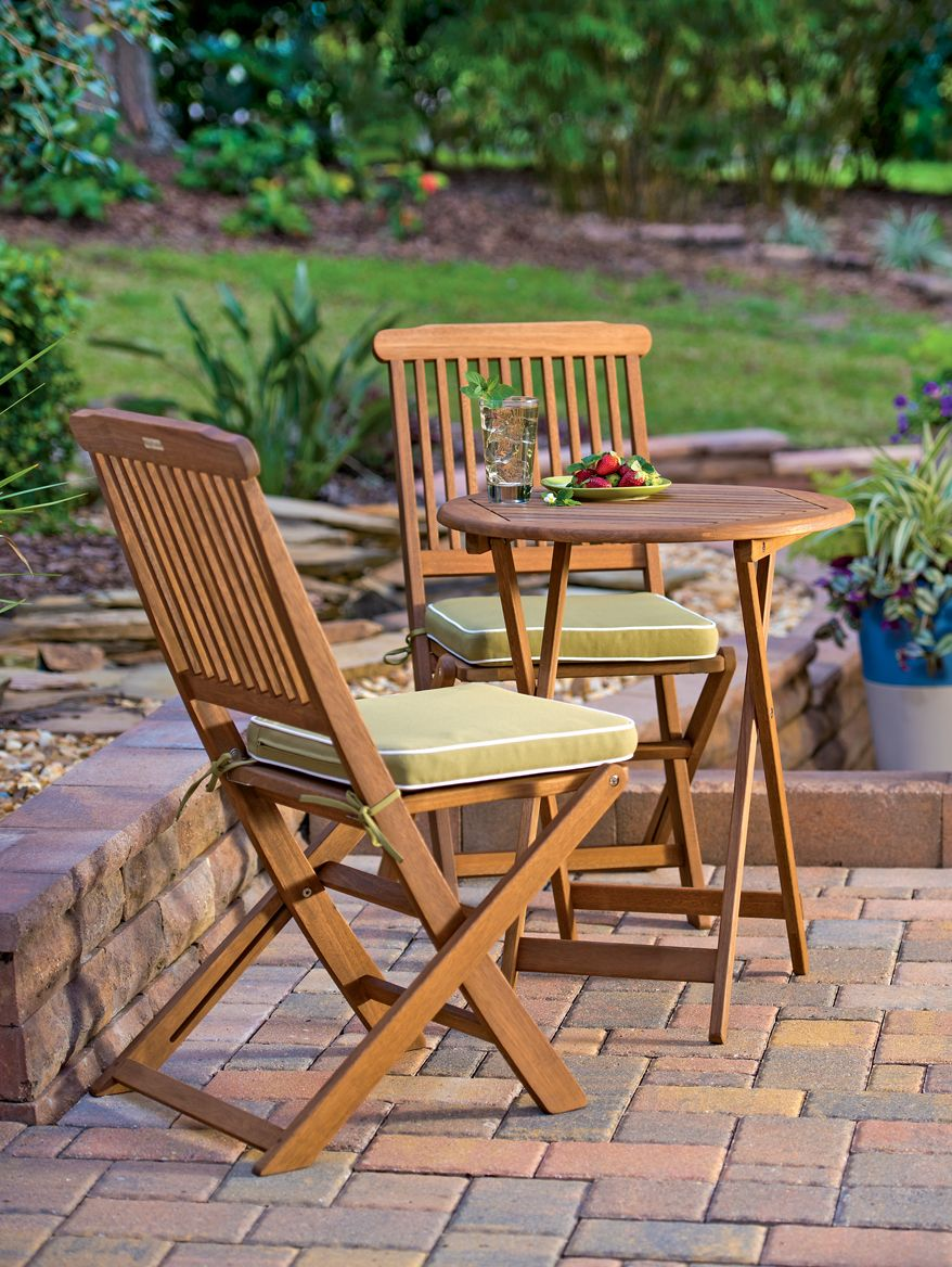 A Small Bistro Set Provides A Cozy Corner For Coffee And Conversation On A Deck Or Balcony Outdoor Chairs Small Patio Furniture Outdoor Bistro Set
