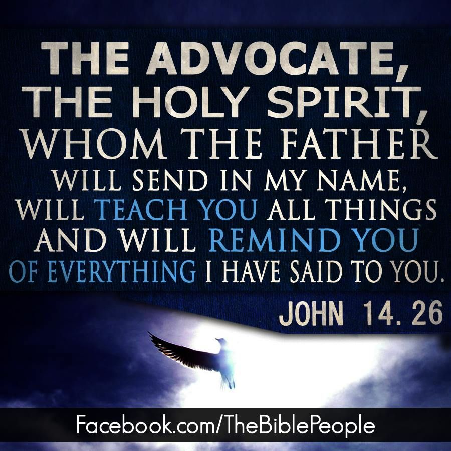 The Holy Spirit is the comforter and the advocate is Jesus ...