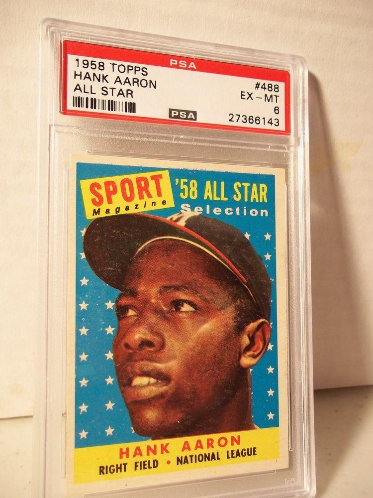 1958 topps hank aaron psa exmt 6 baseball card 448 mlb