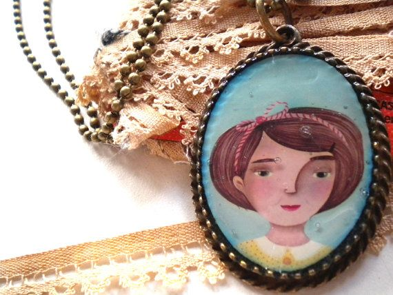 Old style girl paint in a vintage cameo. Bronze with bell collar for ladies and girls