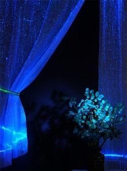 Blue Luminous Fiber Optics Curtain
