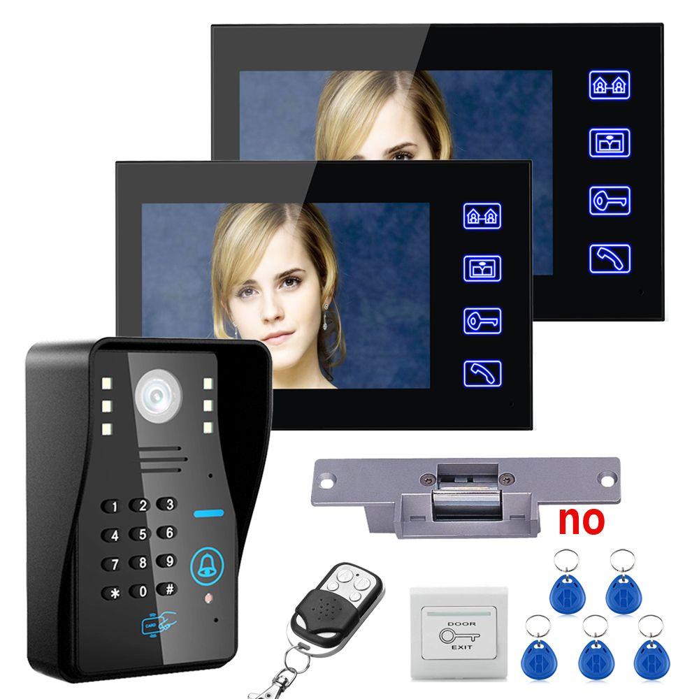 7\ TFT 2 Monitors RFID Password Video Door Phone Intercom System Kit+ Electric Strike Lock+  sc 1 st  Pinterest & 7\