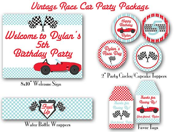 Vintage Race Car Birthday Decorations By Hautechocolatefavors 15 00