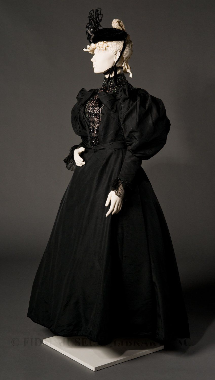 Fidm Museum Blog Black Silk Faille Formal Dress 1894 96 Victorian Fashion Women Two Piece Formal Dresses Historical Dresses [ 1500 x 848 Pixel ]