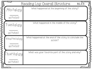 Nightly Reading Logs For Every 2nd Grade Common Core Reading