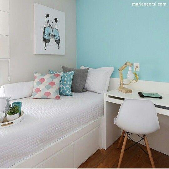Quarto pequeno de solteiro com azul Tiffany  Ideias para decorar a casa  Pi