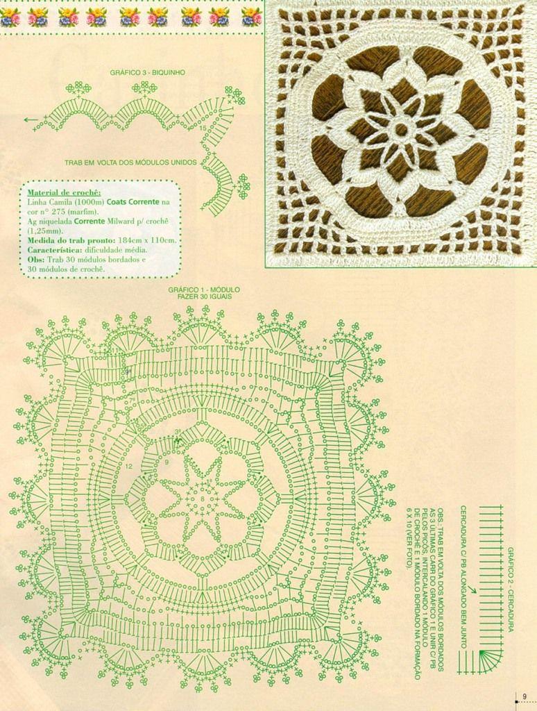 Esquemas de mantel con cuadros al crochet patrones tejidos al ...