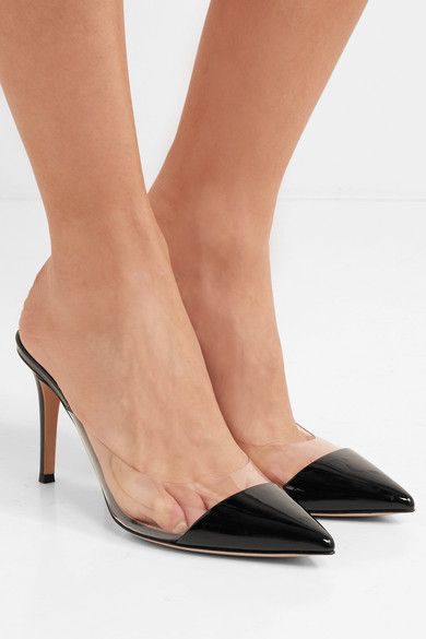 Gianvito Rossi Plexi 85 Patent-leather And Pvc Mules - Black | Patent  leather, Pvc panels and Hot heels