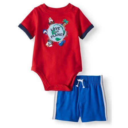 Photo of Garanimals – Garanimals Baby Boy Graphic Bodysuit & Knit Side Stripe Shorts, 2pc Outfit Set – Walmart.com