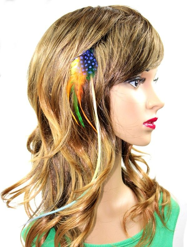 14 L Clip In Gradual Rainbow Pre Bonded Hair Feather Extension