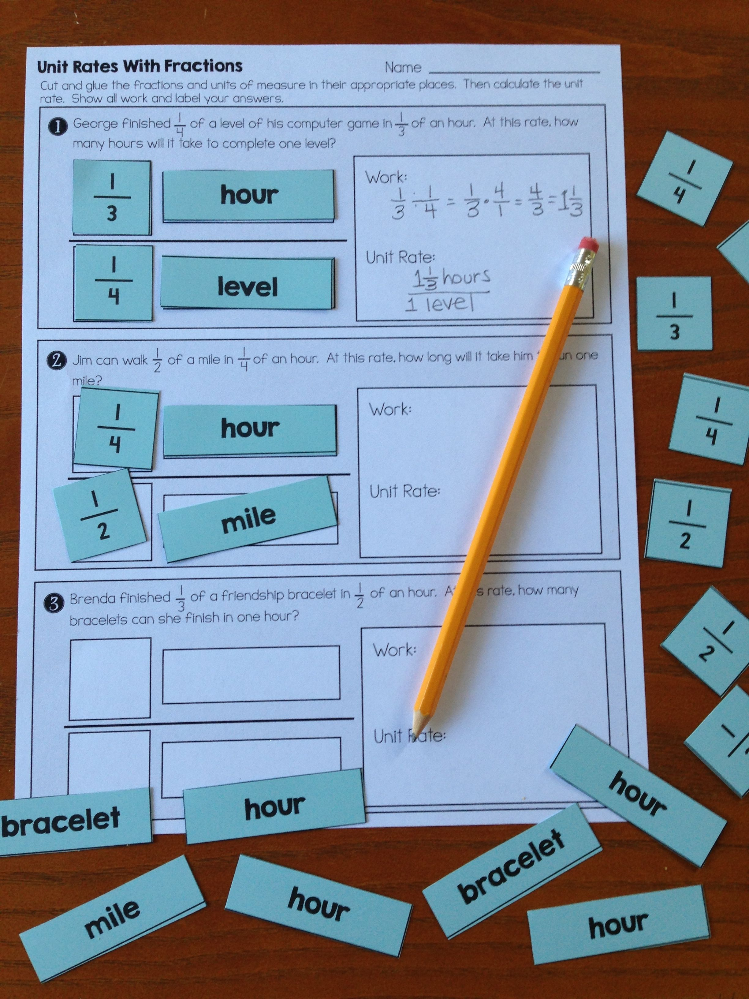 Unit Rates with Complex Fractions - Cut and Paste Worksheet | Math ...