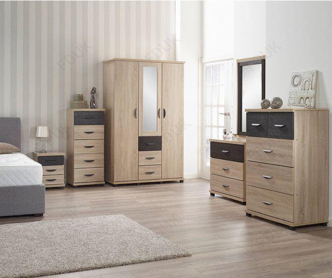 italian furniture dominic 6 piece with 3 door wardrobe bedroom set