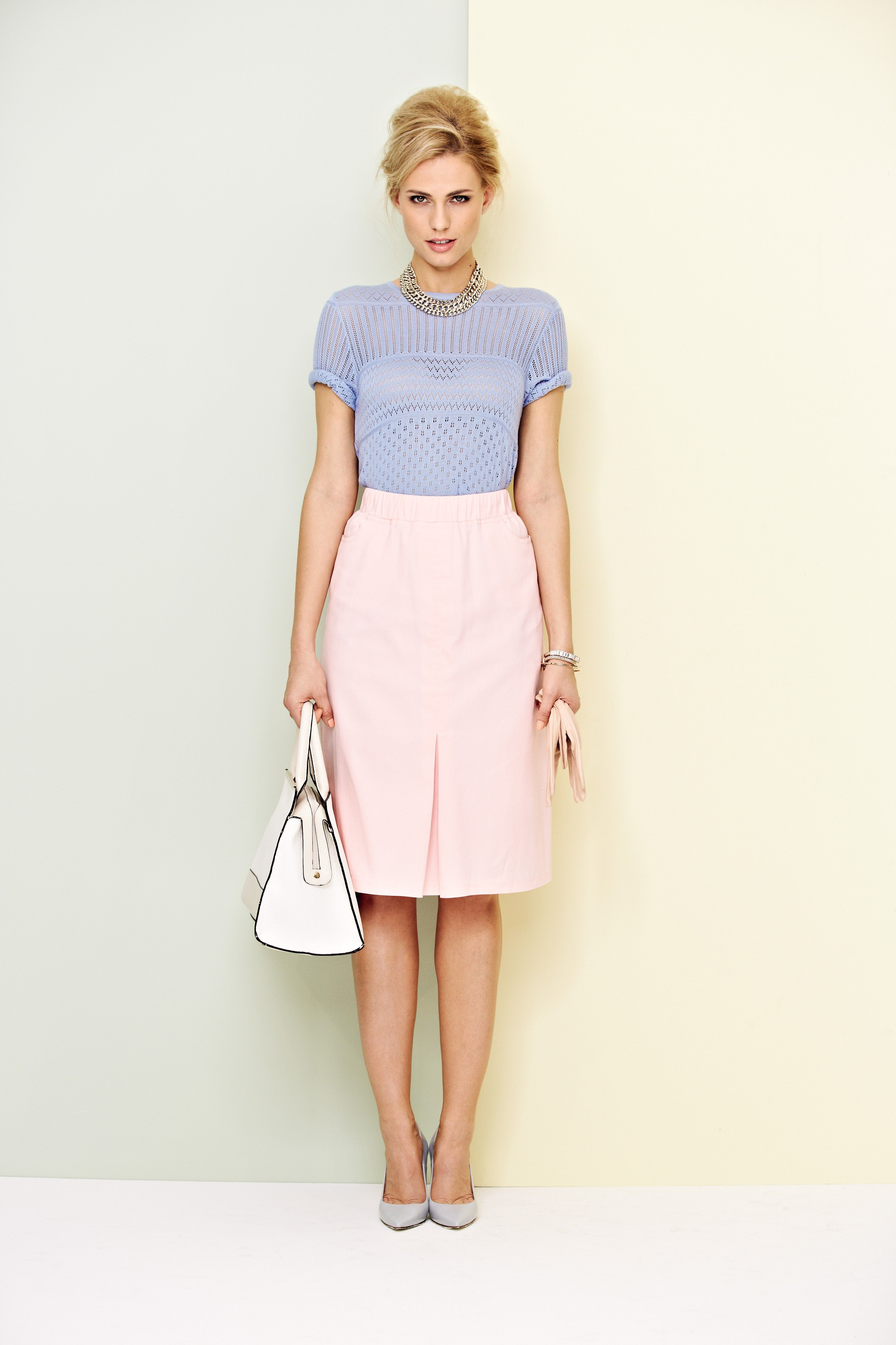 Damart Sky Stripe Sweater And Rose Pull On Skirt Www Damart Co Uk Womens Skirt Skirts Stripe Sweater