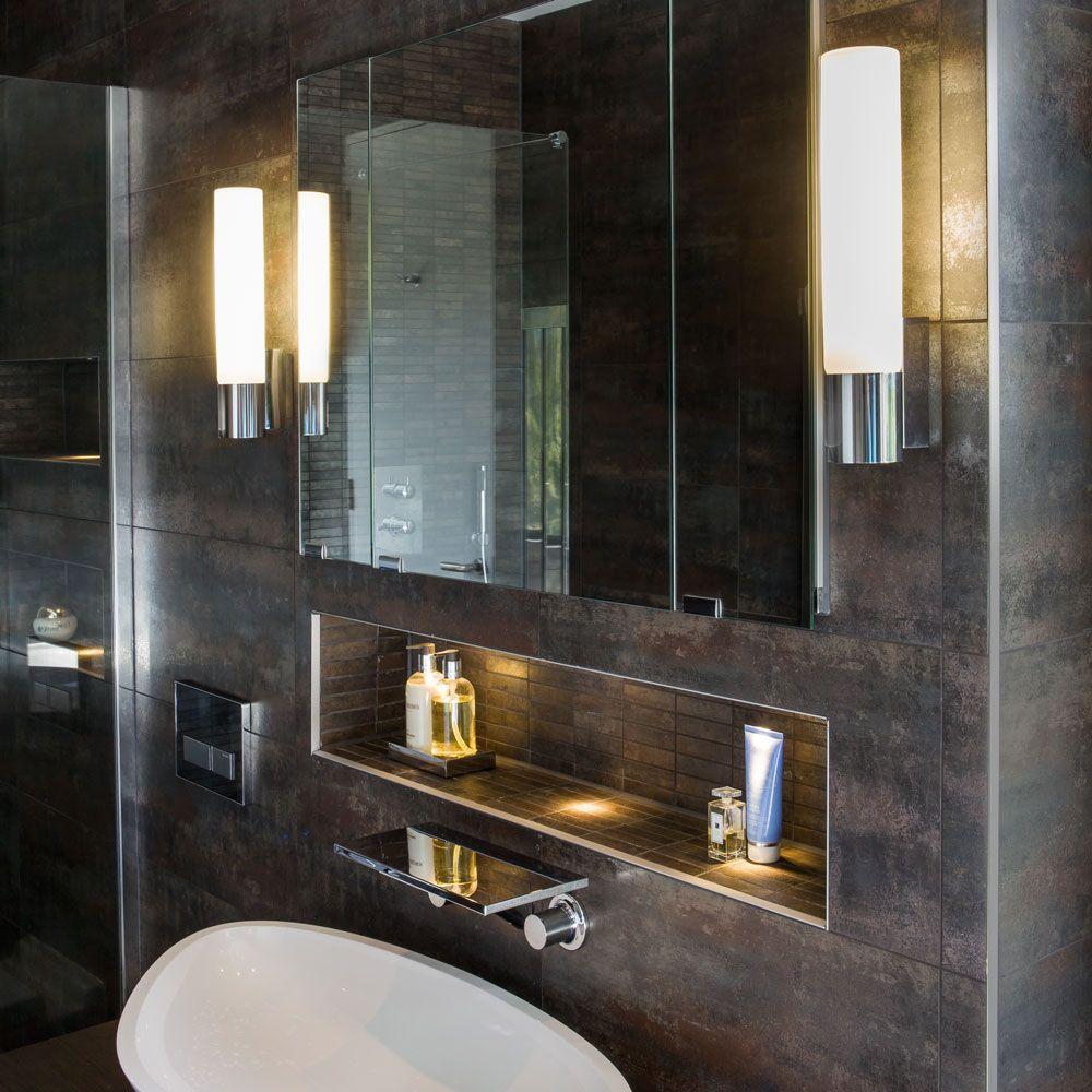 The kyoto 260 energy saving bathroom wall light has a polished the kyoto 260 energy saving bathroom wall light has a polished chrome finish and frosted glass aloadofball Image collections