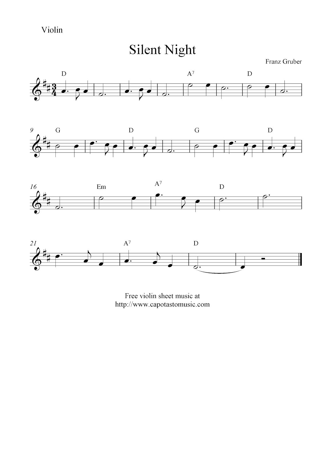 Free Sheet Music Scores: Silent Night, free Christmas violin sheet music notes (With images ...