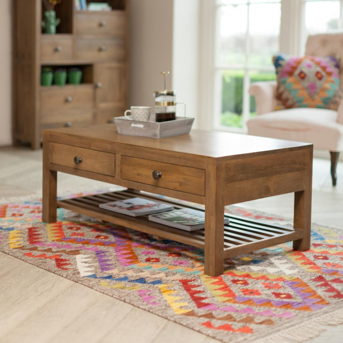 Sundaya Drawer Store Coffee Table Coffee Table Table Slatted Shelves [ 1200 x 1200 Pixel ]
