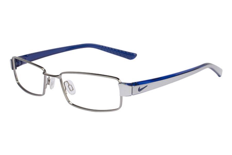 309e2408f85 Nike NIKE 8065 Eyeglasses in 054 Brushed Chrome Translucent Blue