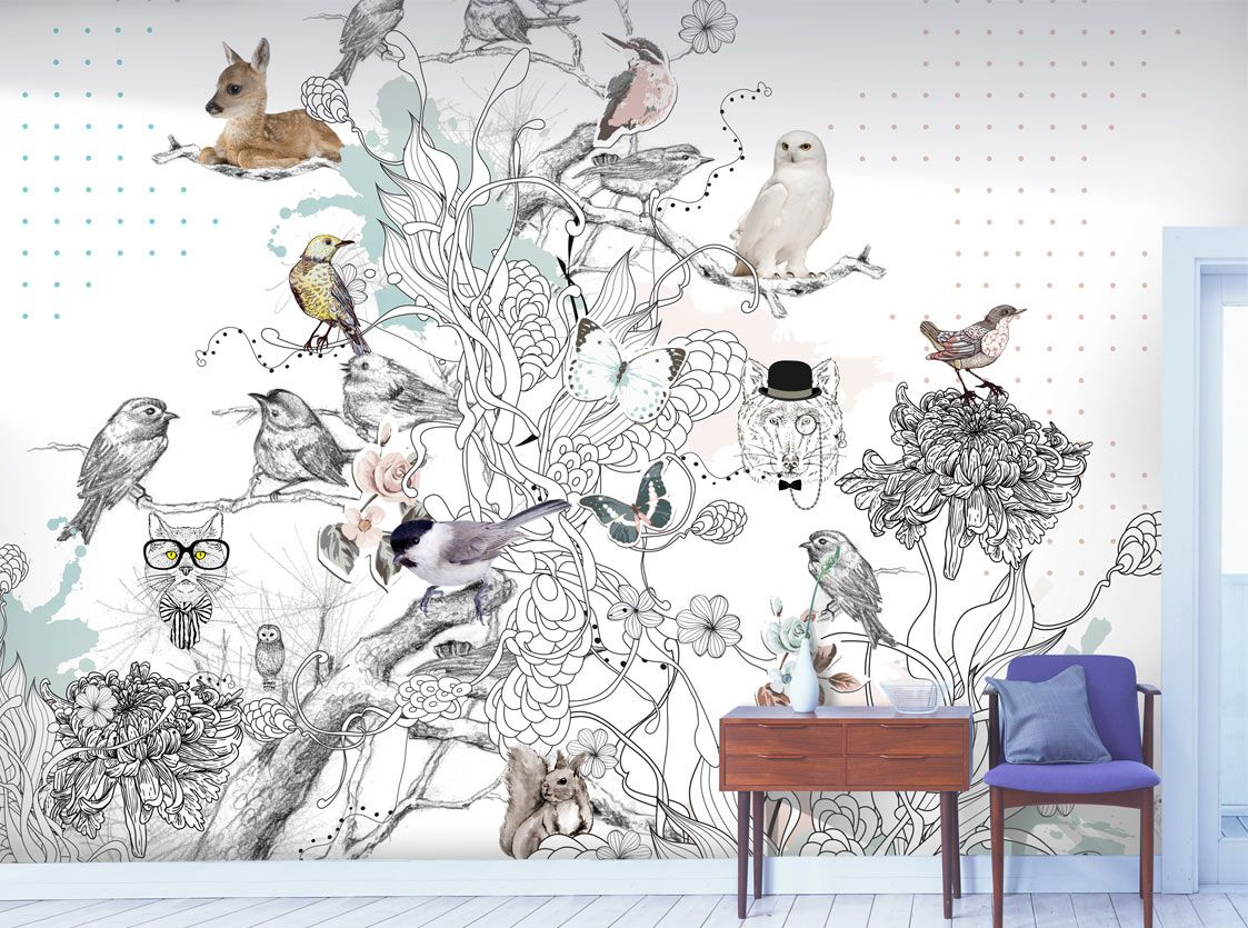 Wallpaper nature animals designed by stories on the wall Scandinavian wallpaper and decor