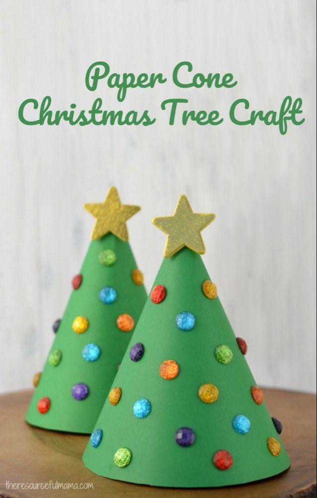 Paper Cone Christmas Tree Kid Craft -   18 xmas decorations to make kids ideas