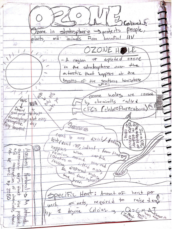 Ozone and Atmosphere Student Sketchnotes for Earth Science