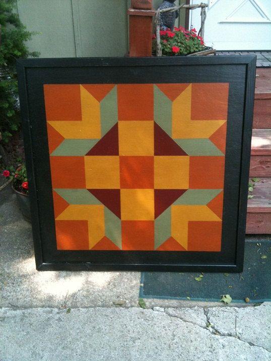 PriMiTiVe Hand-Painted Barn Quilt, Framed 2' x 2' Goose Tracks ... : goose tracks quilt pattern - Adamdwight.com