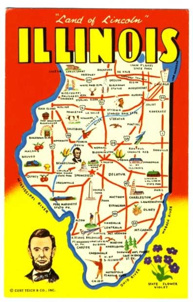 Vintage State Map Postcards State Of Illinois Map Vintage 1960s