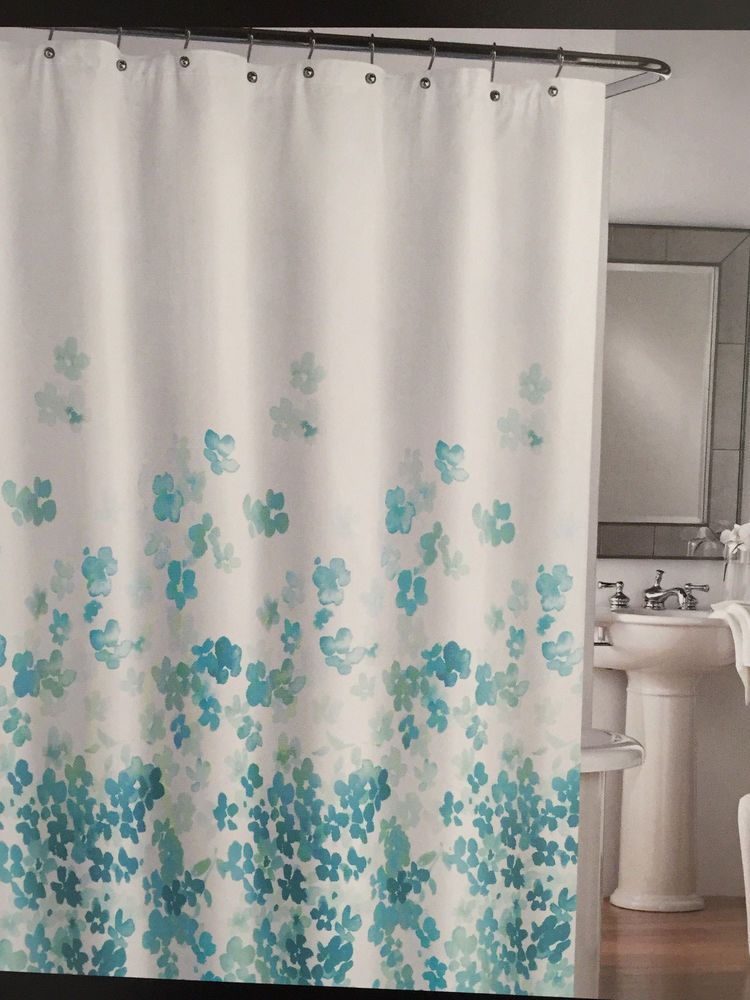 Cynthia Rowley Floral Aqua Turquoise White Fabric Shower Curtain