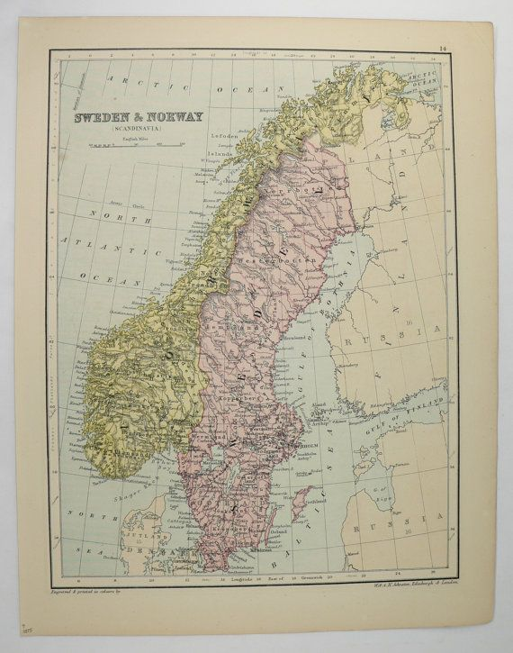 Old Scandinavia Map Vintage Norway Map Sweden Denmark Map 1875 Johnston Map Northern Europe Map Scandinavian Decor Art Gif Norway Map Denmark Map Europe Map