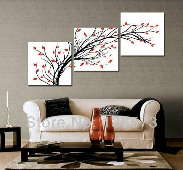 3 Diagonal Wall Art Set Piece Modern Oil