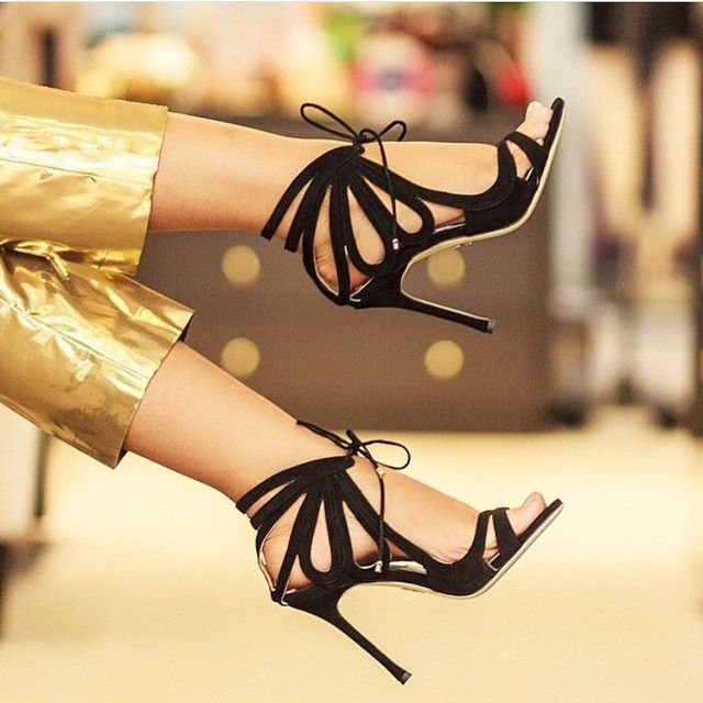 """""""Ada"""" by CHELSEA PARIS! Black high heel shoes. Gorgeous sandal heels. Love these shoes. Awesome design."""