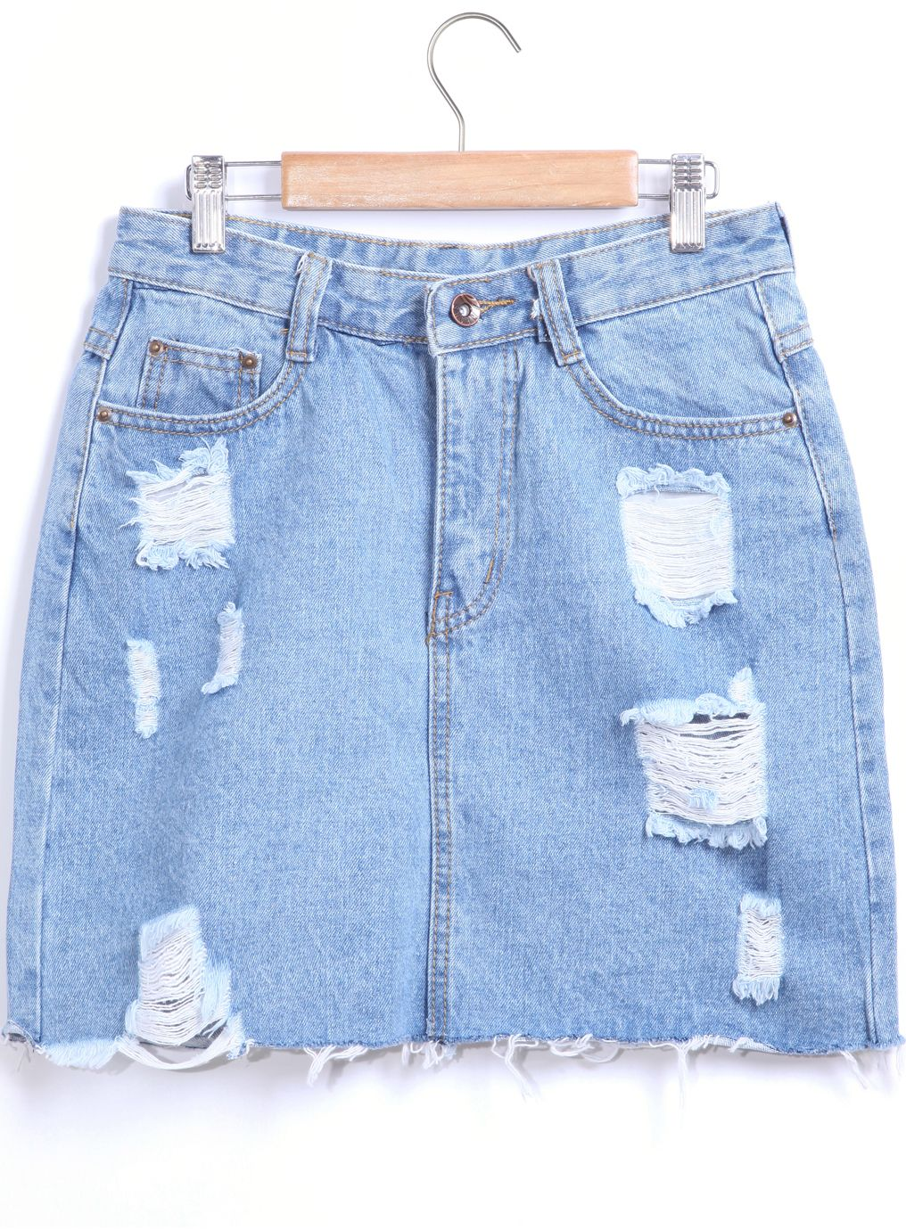 Shop Blue Pockets Ripped Denim Skirt online. SheIn offers Blue Pockets Ripped Denim Skirt & more to fit your fashionable needs.