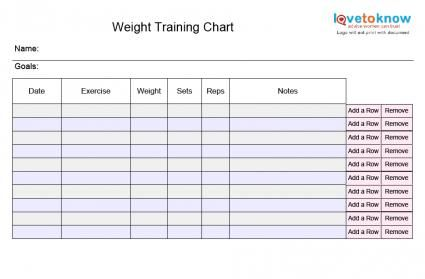 Blank Weight Training Chart  Bullets    Exercise Chart