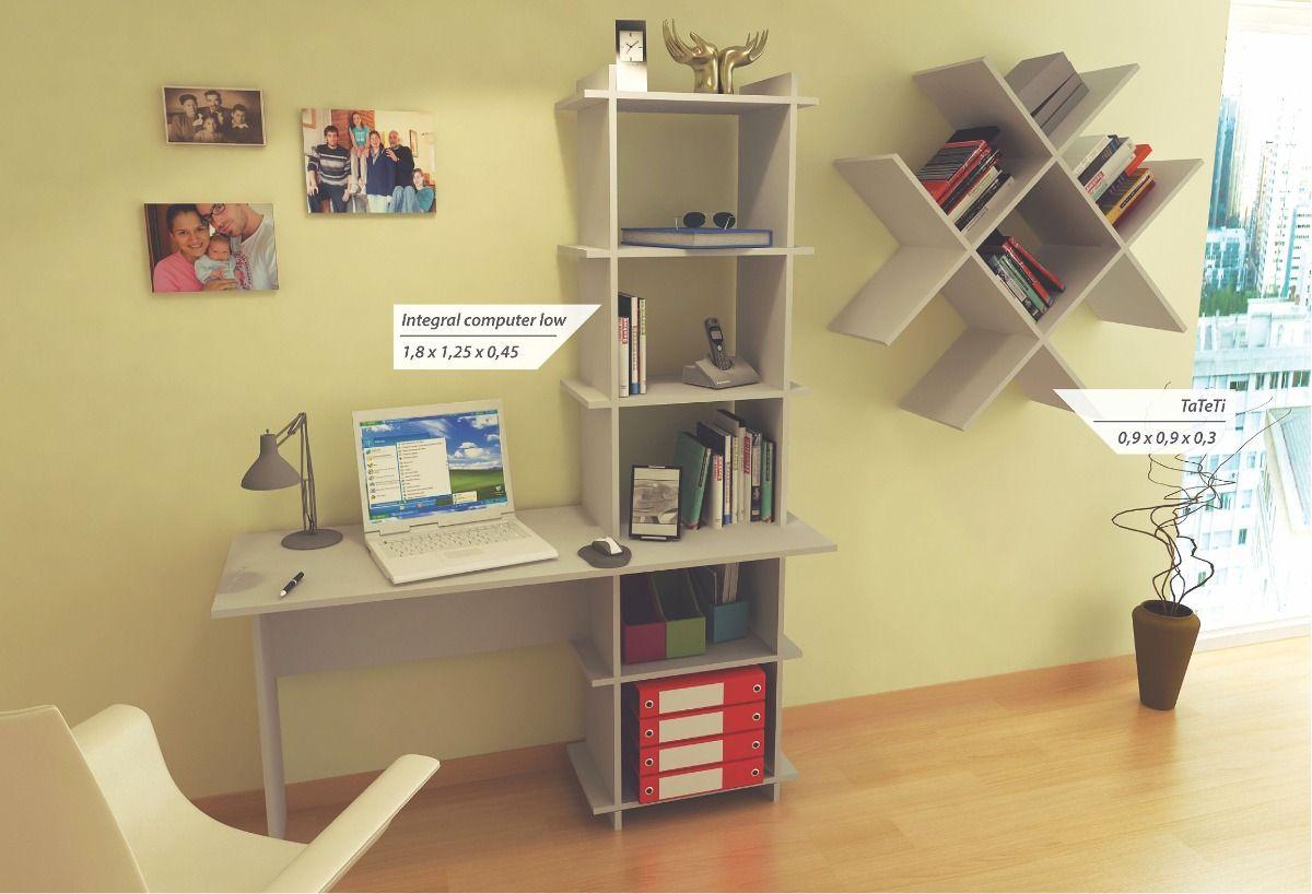 Combo Escritorio Biblioteca+biblioteca Flotante Estantes - $ 1.346 ...