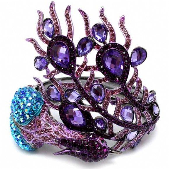 Maylen's Fancy Purple & Blue Crystal Peacock Bracelet - Only $69.95 — Fantasy Jewelry Box