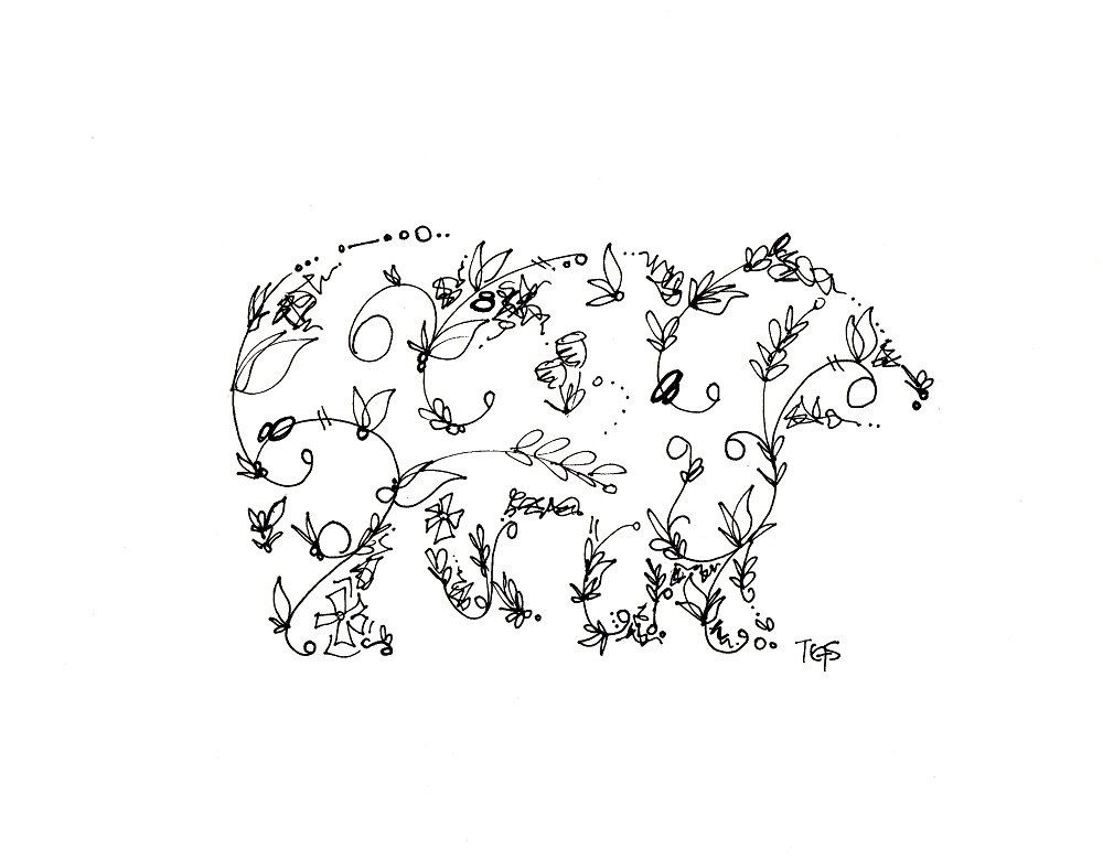 Floral Bear. Maybe A Floral Moose Or Deer? Love This