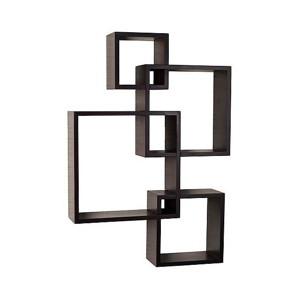 Wall Shelf Intersecting Cube Shelves Espresso Black 40 Liked On Polyvore Featurin With Images Square Floating Shelves Black Floating Shelves Ikea Floating Shelves
