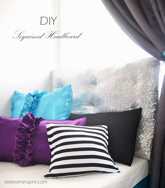 Diy Sequined Headboard From Foam Board For Dorm Dorm Room Headboards Dorm Headboard Diy Headboard