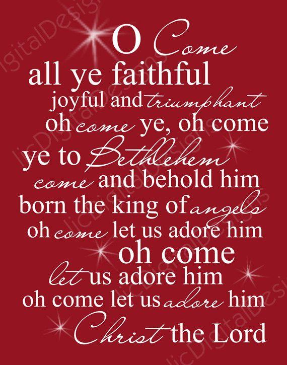 O Come All Ye Faithful Christmas Word Art Lyrics Printable Digital Typography Decoration 11x14 ...