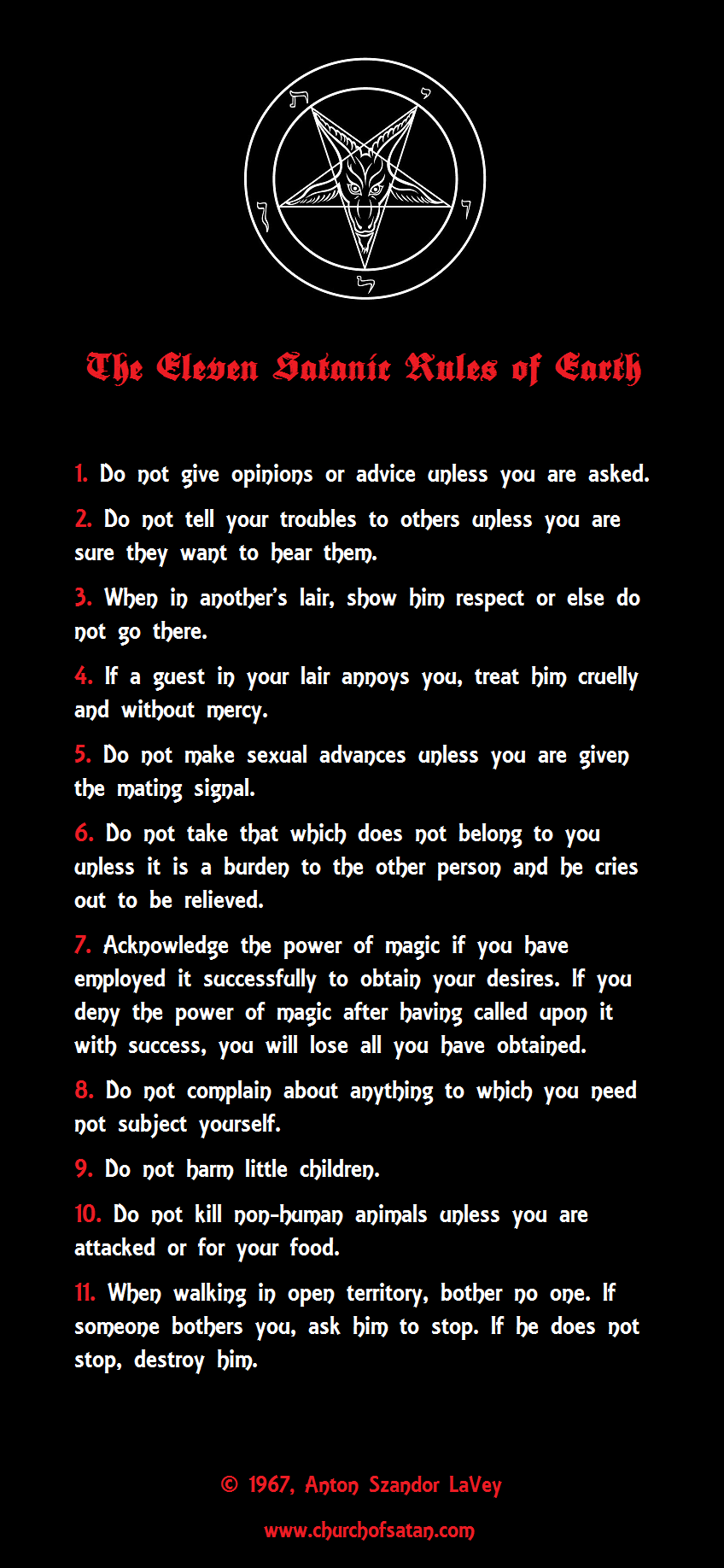The Eleven Satanic Rules Of Earth Satanism Atheism Pinterest
