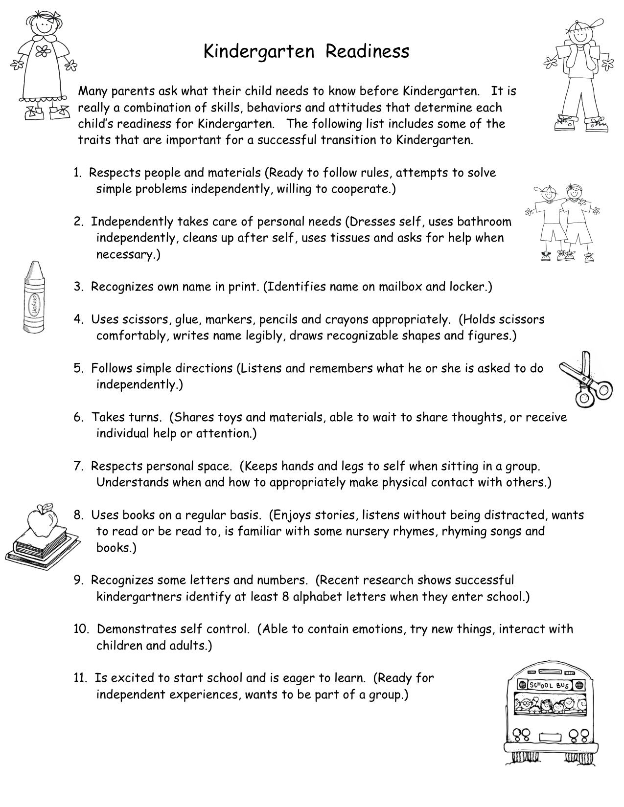 Preparing for kindergarten: what should be able to child