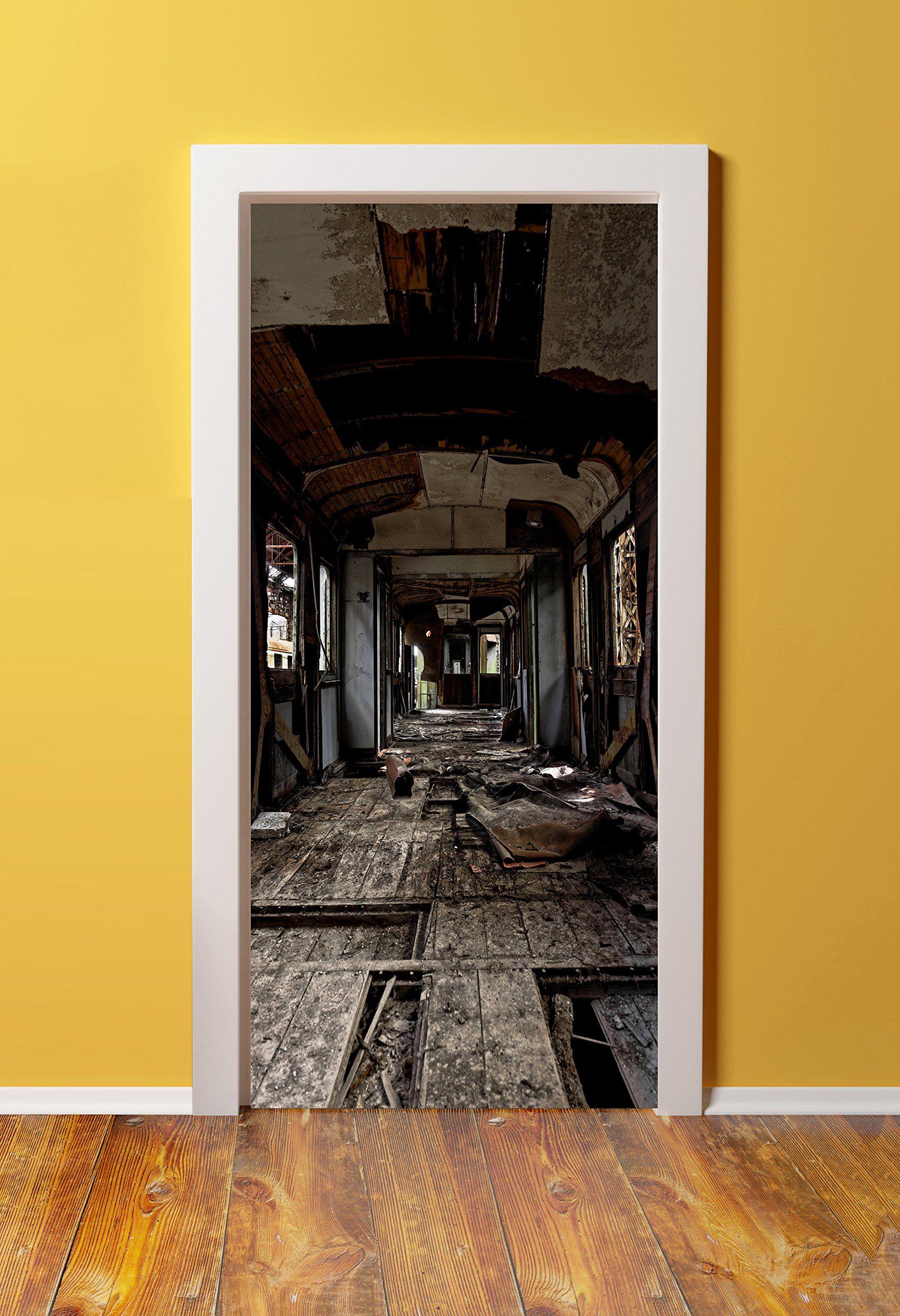 30x80 Canvas 3D Door (Sticker) Murals - PEEL & STICK - Made from tear