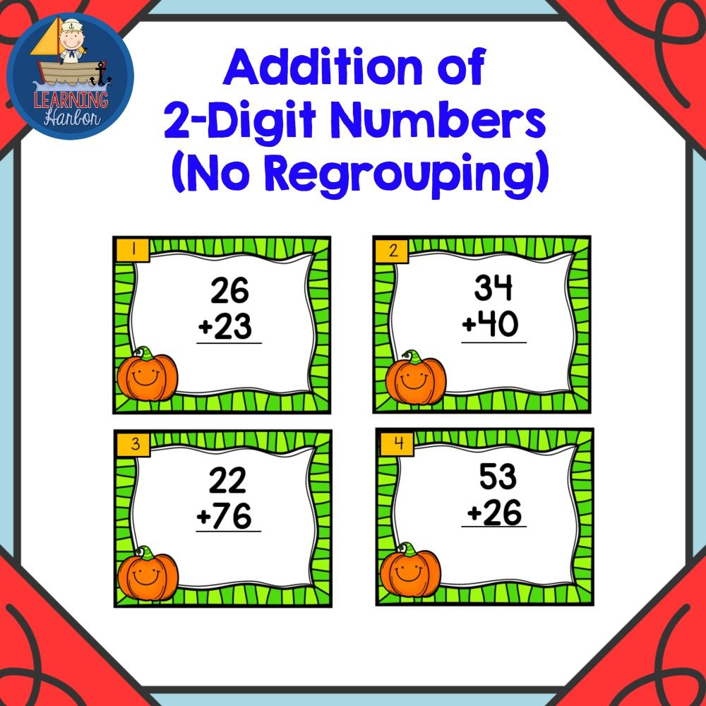 Pumpkin Themed Task Cards for Adding Two-Digit Numbers with no ...