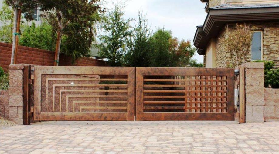 Portones de metal planos y casas fachada puertas de - Puertas de metal para casas ...
