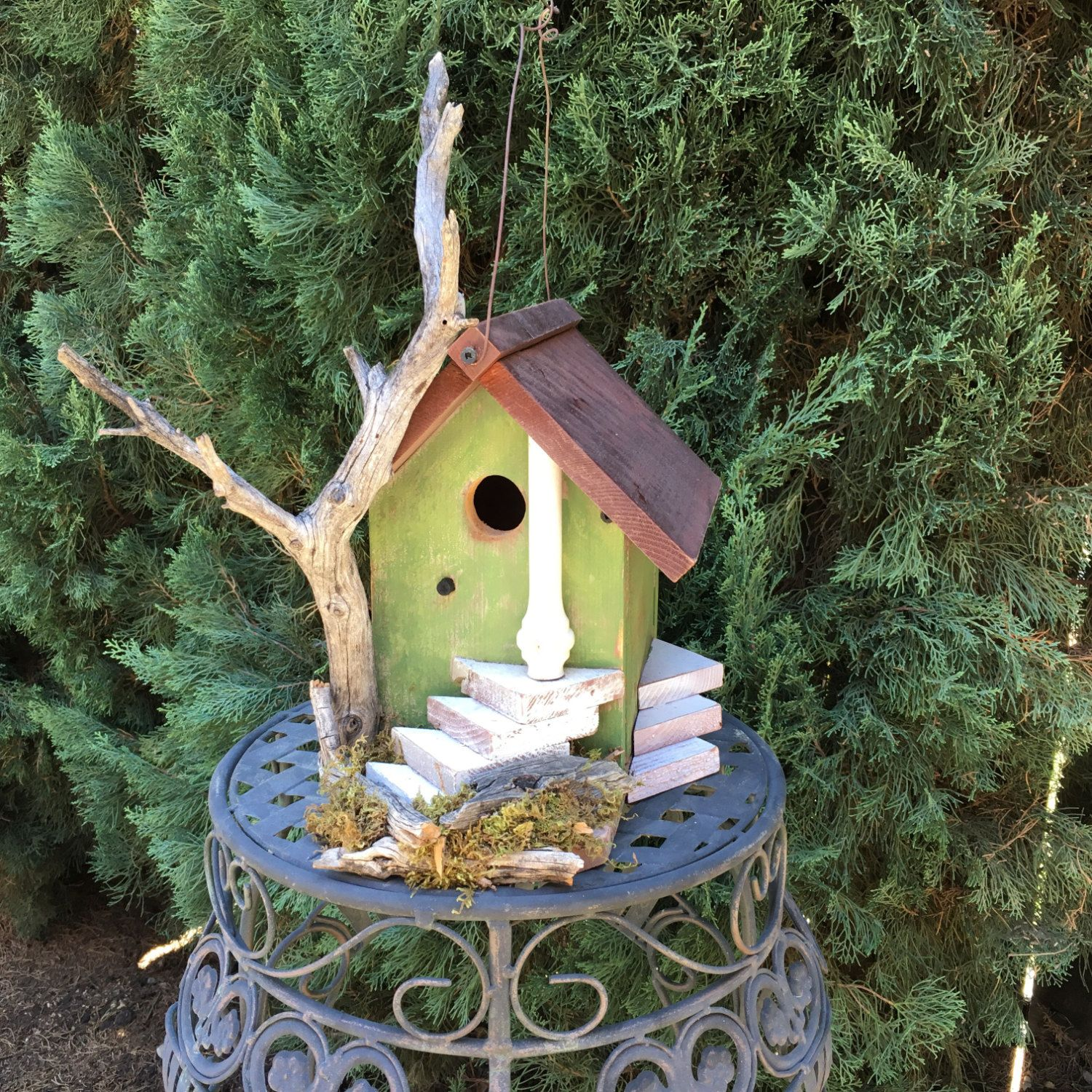 Rustic Wood Birdhouse Functional Unique With Natural Driftwood Bird
