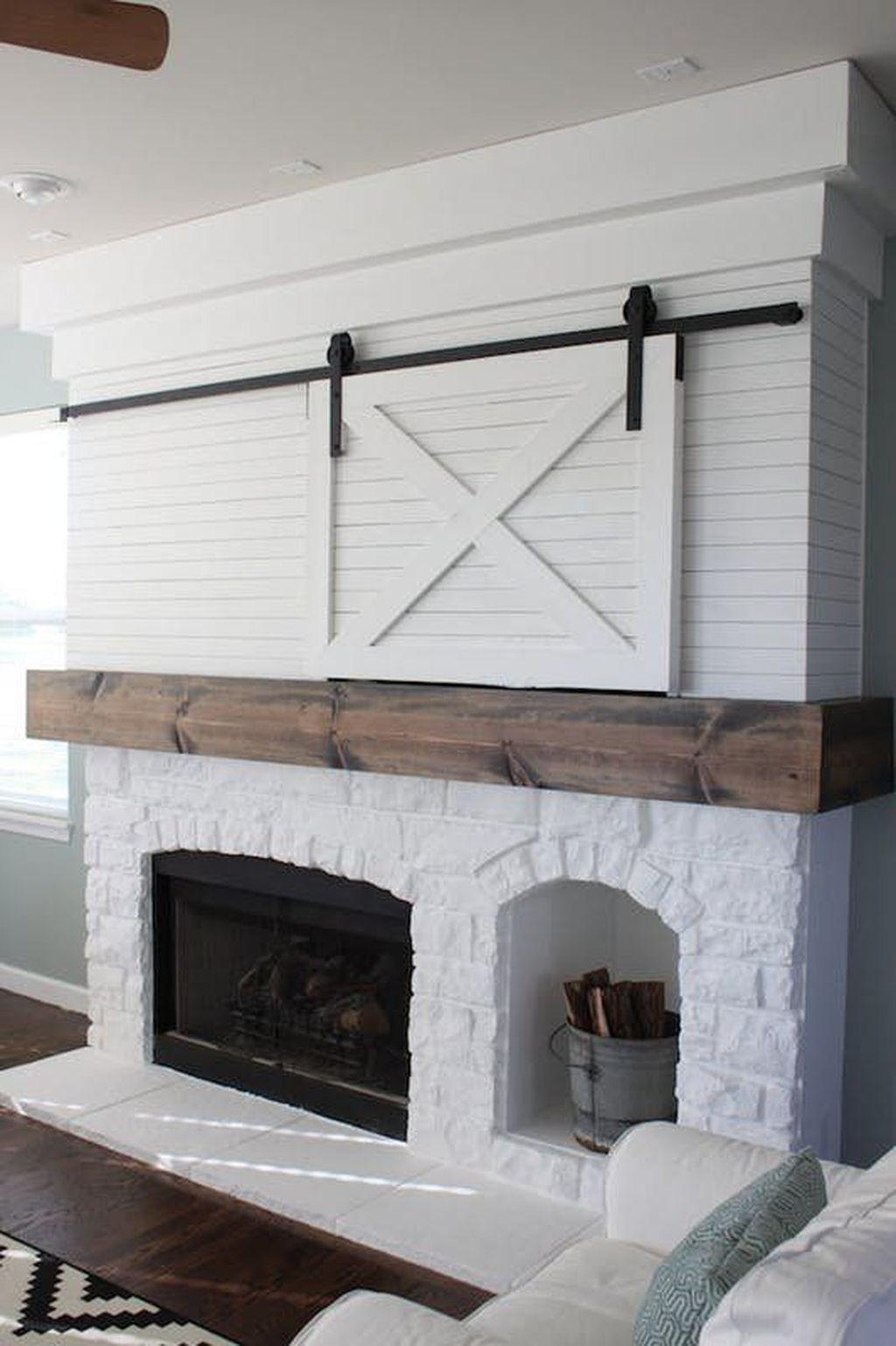 85 Rustic Farmhouse Fireplace Makeover Ideas Rustic