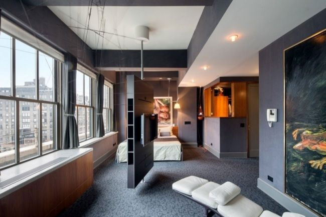 modernes design schlafzimmer wohnung grau raumteiler tv drehbar ... - Tv Im Schlafzimmer