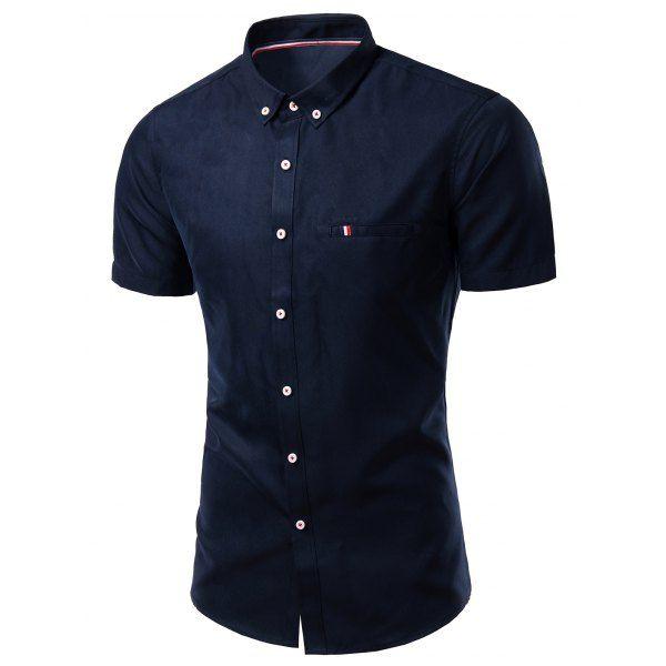 7c5c20abdd1 Modish Turn-Down Collar Short Sleeve Men s Button-Down Shirt ...